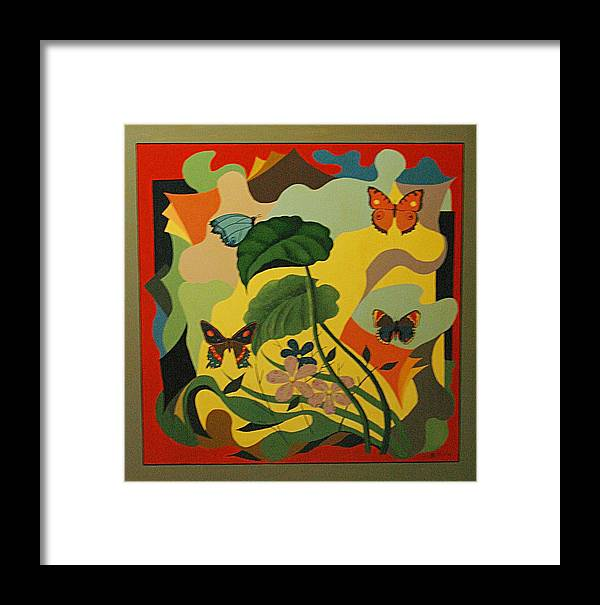 Abstract Framed Print featuring the painting Spring by Vasilis Bottas