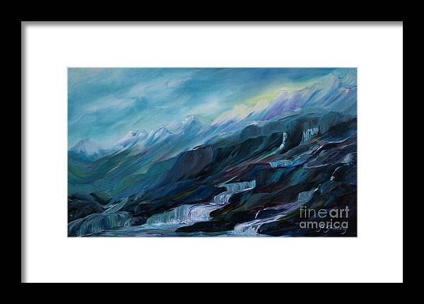 Spring Water Trickling Down Mountains Framed Print featuring the painting Spring Water by Joanne Smoley