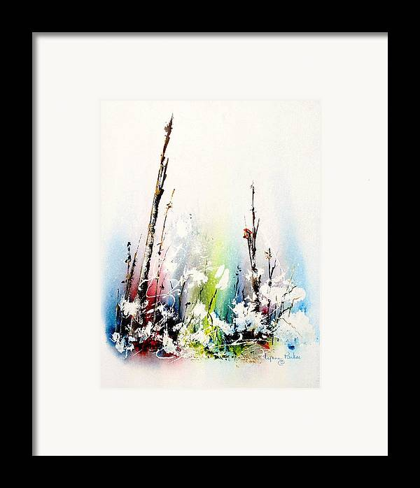 Snowy Scene Framed Print featuring the painting Spring Will Come by Lynne Parker