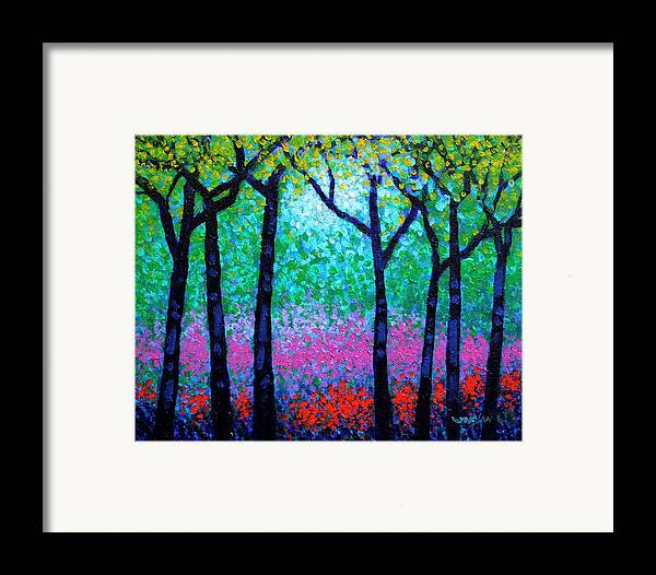 Landscape Framed Print featuring the painting Spring Woodland by John Nolan