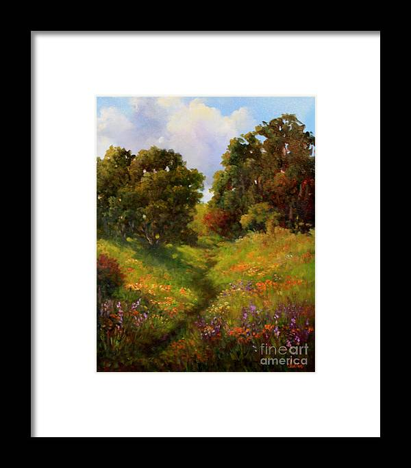 Oak Trees Framed Print featuring the painting Springers Pond Lake County by Gail Salitui