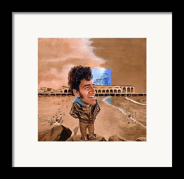 Bruce Springsteen Framed Print featuring the painting Springsteen On The Beach by Ken Meyer jr
