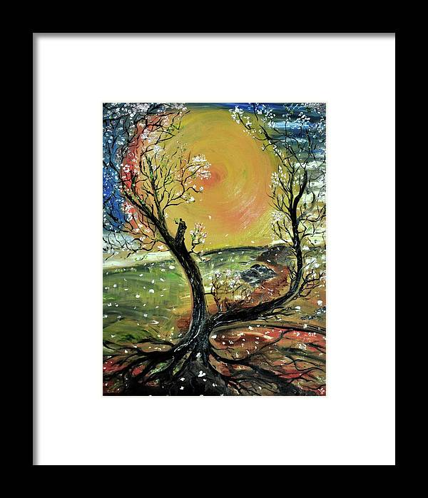 Tree Framed Print featuring the painting Springtime 2 by Evelina Popilian