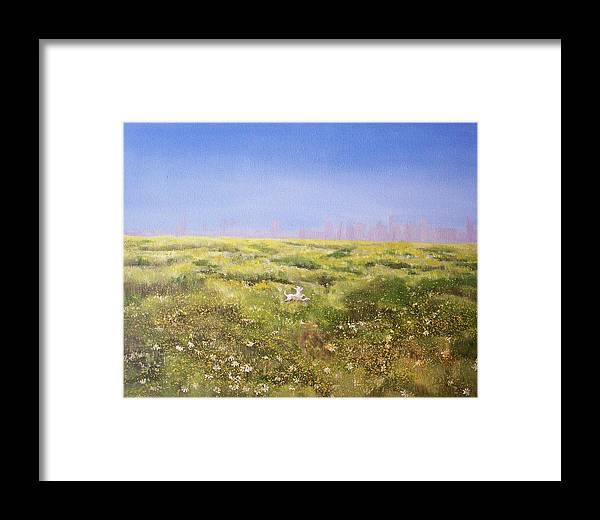 San Diego Skyline Framed Print featuring the painting Springtime At Fiesta Island by Irene Corey