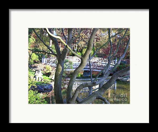 Japanese Garden Framed Print featuring the photograph Springtime Bridge Through Japanese Maple Tree by Carol Groenen