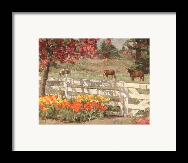 Horse Framed Print featuring the painting Springtime Horses by Robert Tutsky