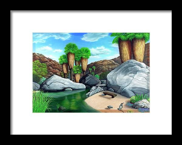 Landscape Framed Print featuring the painting Springtime In The Canyons by Snake Jagger