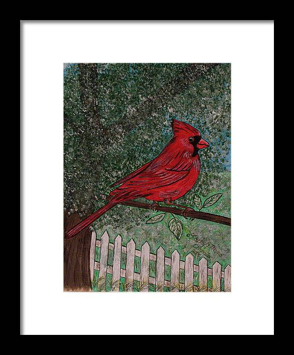 Springtime Framed Print featuring the painting Springtime Red Cardinal by Kathy Marrs Chandler