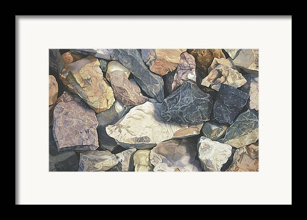 Stones Framed Print featuring the painting Square One by Craig Gallaway