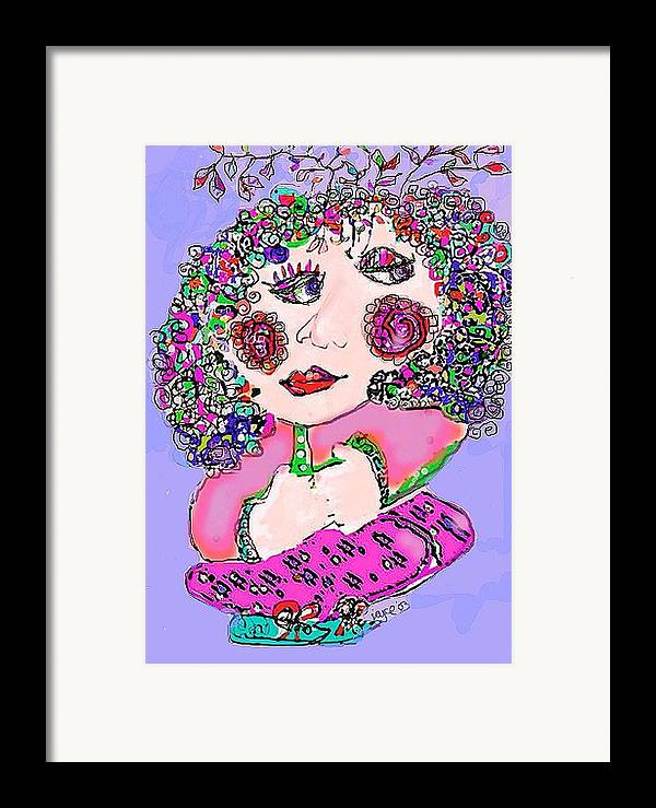Abstract Framed Print featuring the digital art Squatting Lady by Joyce Goldin