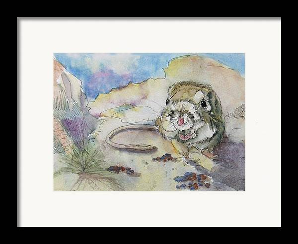 Kangaroo Rat Framed Print featuring the painting Squiggy by Gina Hall