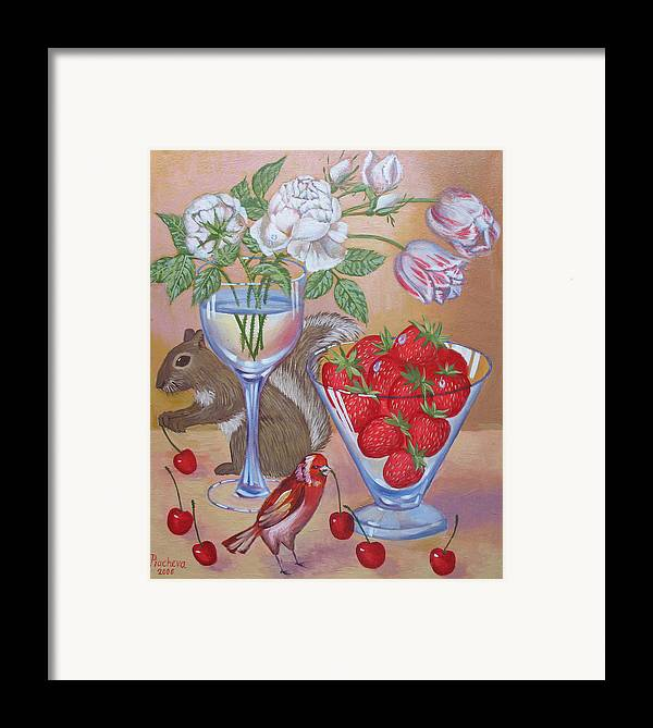 Food Framed Print featuring the painting Squirrel Cherry .2006 by Natalia Piacheva