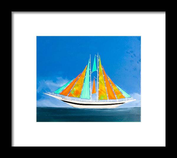 Sail Framed Print featuring the painting Ss Emerald Isle Nc by Barry Knauff