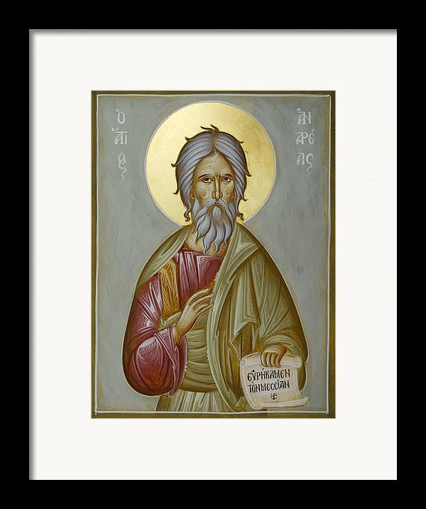 Icon Framed Print featuring the painting St Andrew The Apostle And First-called by Julia Bridget Hayes