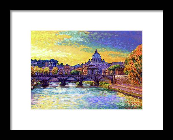Italy Framed Print featuring the painting St Angelo Bridge Ponte St Angelo Rome by Jane Small