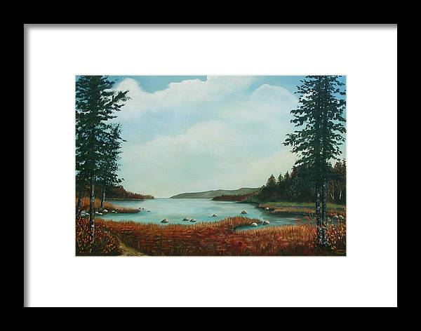 Original Acrylic Landscape Framed Print featuring the painting St Annes Bay Nova Scotia by Sharon Steinhaus