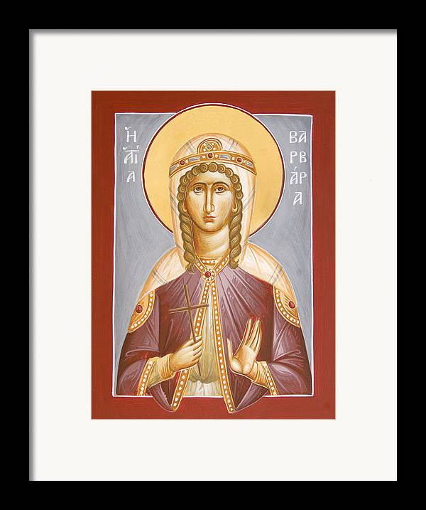 St Barbara Framed Print featuring the painting St Barbara by Julia Bridget Hayes