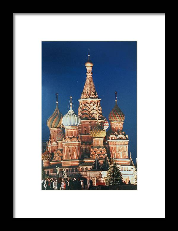 Russia Framed Print featuring the photograph St Basil's By Night by David Connaughton