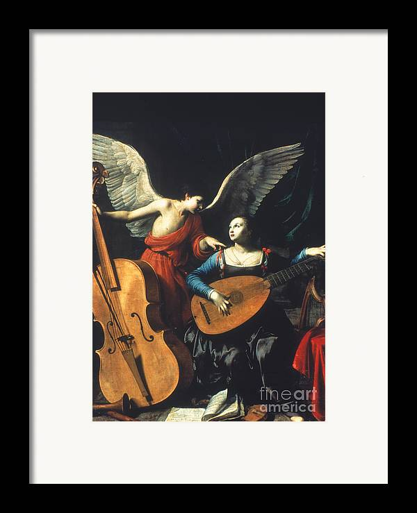 1600 Framed Print featuring the painting St. Cecilia And The Angel by Granger