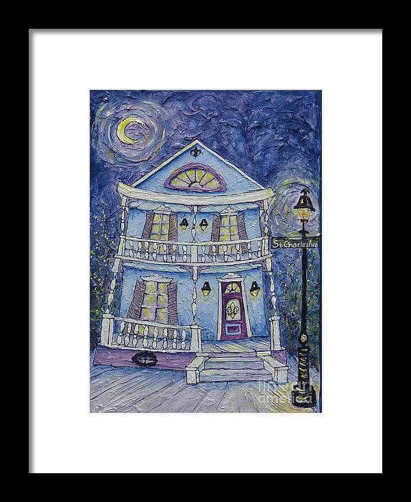 Structure Framed Print featuring the painting St. Charles Blue House by Catherine Wilson