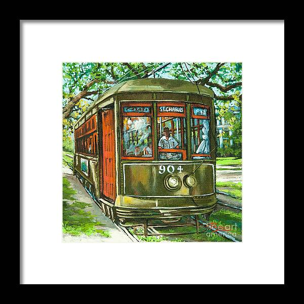 New Orleans Streetcar Framed Print featuring the painting St. Charles No. 904 by Dianne Parks