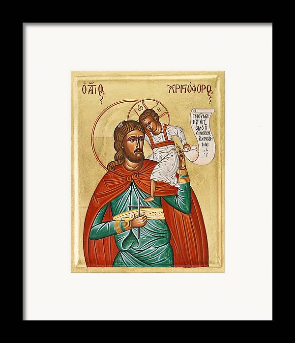 Icon Byzantine Framed Print featuring the painting St Christopher by Julia Bridget Hayes