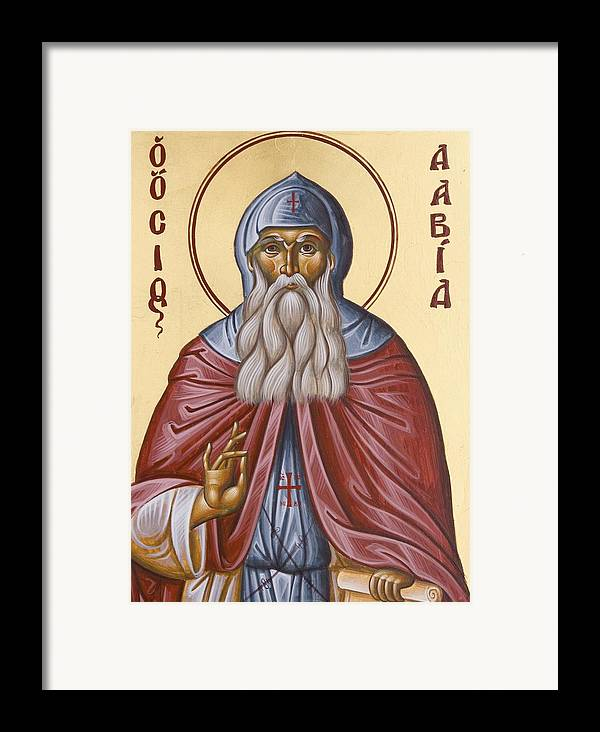 Icon Framed Print featuring the painting St David Of Evia by Julia Bridget Hayes