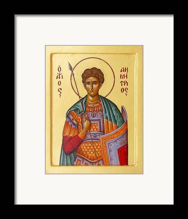 St Demetrios Framed Print featuring the painting St Demetrios The Great Martyr And Myrrhstreamer by Julia Bridget Hayes