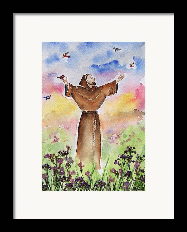 Catholic Framed Print featuring the painting St Francis Of Assisi by Regina Ammerman