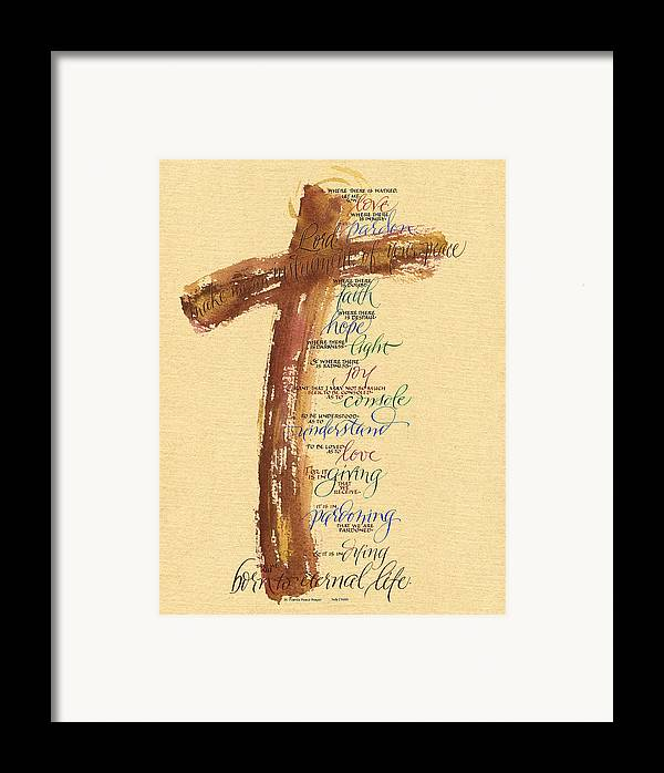 Bible Framed Print featuring the painting St Francis Peace Prayer by Judy Dodds