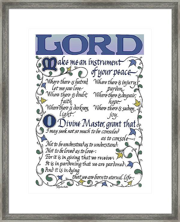 picture about St Francis Prayer Printable known as St Francis Prayer Lord Generate Me An Device Of Your Relaxation Framed Print