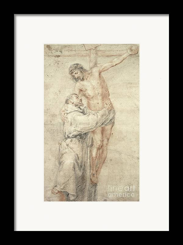 Francis Framed Print featuring the painting St Francis Rejecting The World And Embracing Christ by Bartolome Esteban Murillo