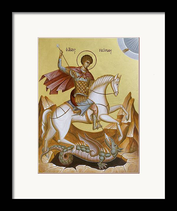 Icon Framed Print featuring the painting St George by Julia Bridget Hayes