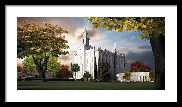 St. George Framed Print featuring the painting St. George Temple by Brent Borup