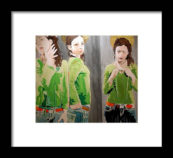 Portrait Framed Print featuring the painting St. Handan by Pete Nawara