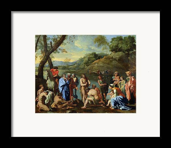 John Framed Print featuring the painting St John Baptising The People by Nicolas Poussin