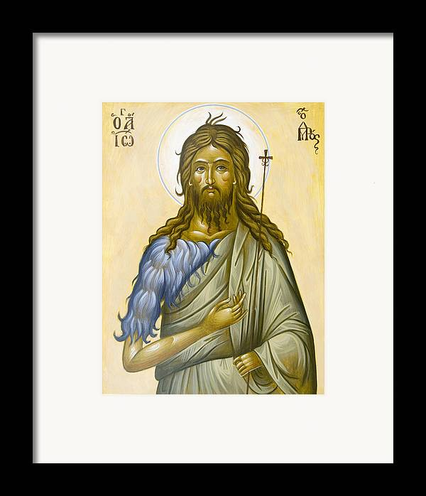 Icon Framed Print featuring the painting St John The Forerunner by Julia Bridget Hayes