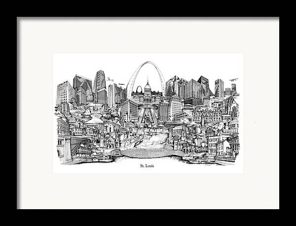 City Drawing Framed Print featuring the drawing St. Louis 4 by Dennis Bivens