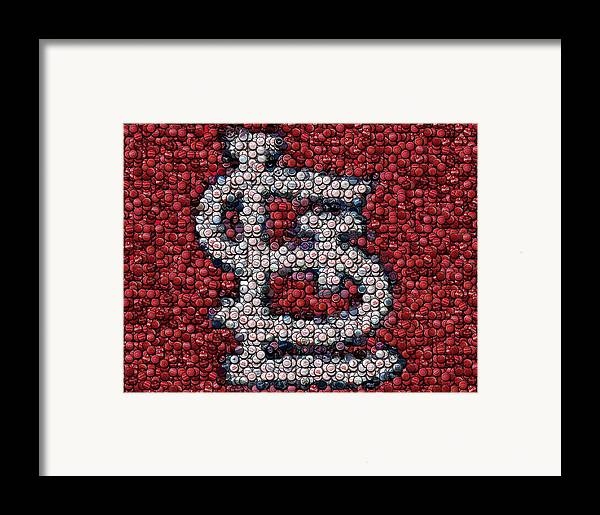 St. Louis Framed Print featuring the mixed media St. Louis Cardinals Bottle Cap Mosaic by Paul Van Scott