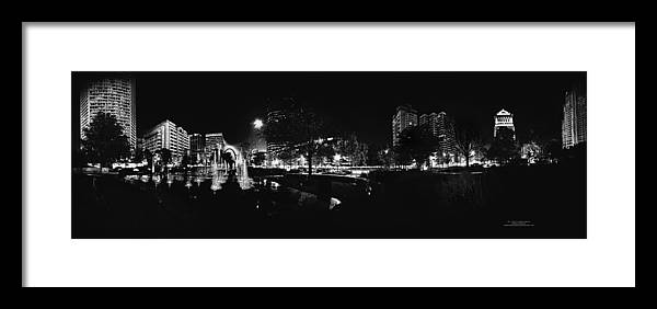 City Garden St. Louis Mo Downtown Water Fountains Artists\' Guild Framed Print featuring the photograph St. Louis City Garden Night Bw For Glass by David Coblitz