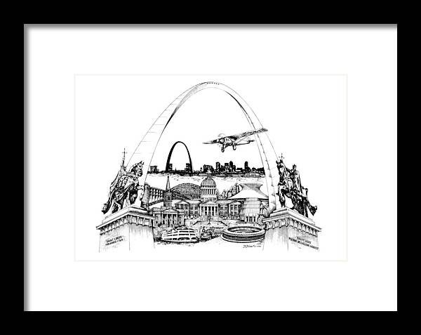 City Drawing Framed Print featuring the drawing St. Louis Highlights Version 1 by Dennis Bivens