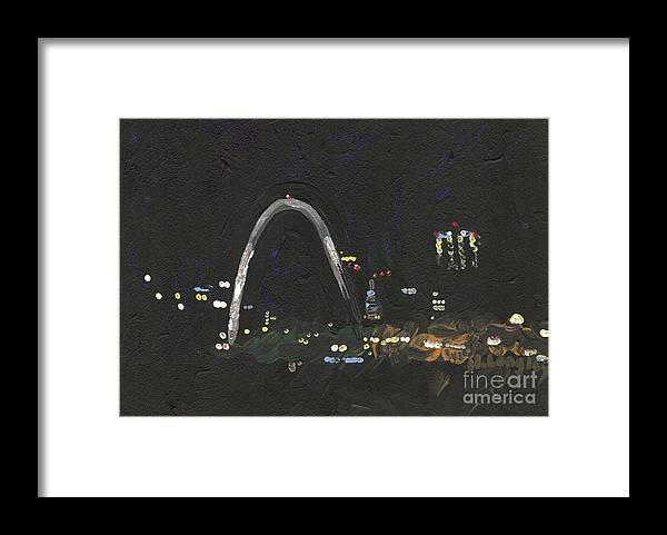 Cityscape Framed Print featuring the painting St. Louis Riverfront 1 by Helena M Langley