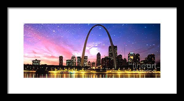 Framed Print featuring the digital art St Louis Skyline As Night Falls by Rod Jellison