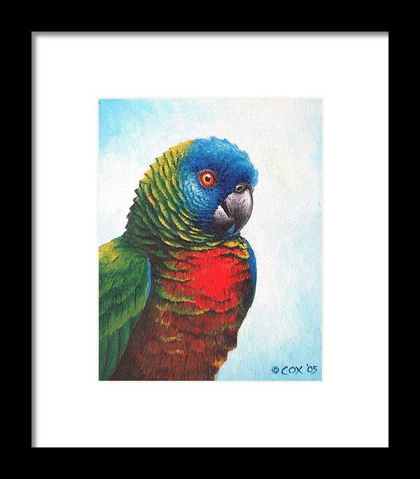 Chris Cox Framed Print featuring the painting St. Lucia Parrot by Christopher Cox