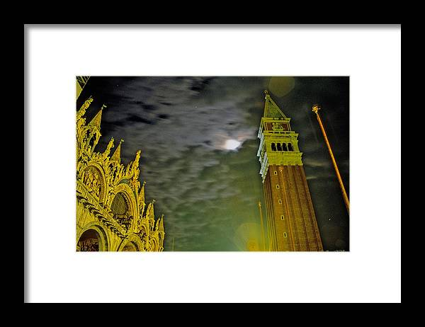 Venice Framed Print featuring the photograph St. Marks in Venice with Moon and Venus by Michael Henderson