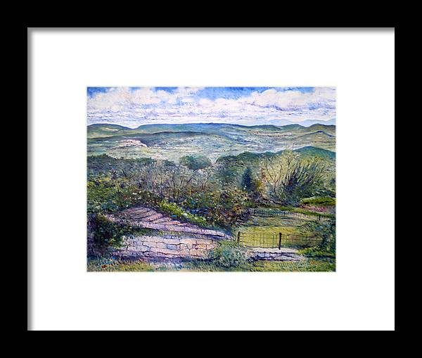Luberon France Framed Print featuring the painting St Martin De Castillon Luberon France 2004 by Enver Larney