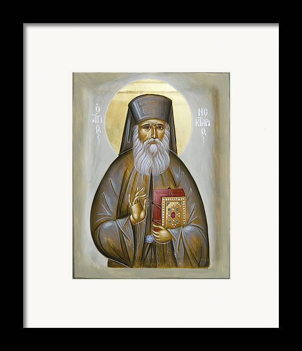 Icon Framed Print featuring the painting St Nektarios Of Aigina by Julia Bridget Hayes