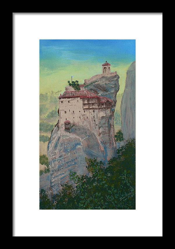 Landscape Framed Print featuring the painting St Nicholas Anapapsas Monastery - Meteora - Greece by Dan Bozich