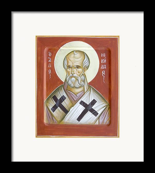 St Nicholas Of Myra Framed Print featuring the painting St Nicholas Of Myra by Julia Bridget Hayes