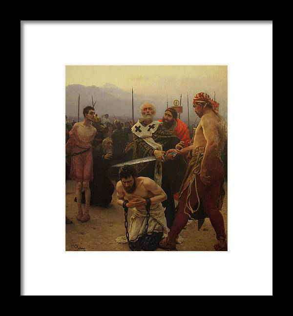 Ilya Repin Framed Print featuring the painting St. Nicholas Saves Three Innocents from Death by Ilya Repin